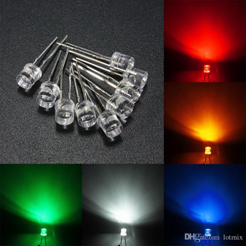 3mm / 5mm Top Flat Água Clara LED Emitting Diodos Light Variedade Lâmpada DIY 5 Cor Branco Amarelo Vermelho Azul Verde