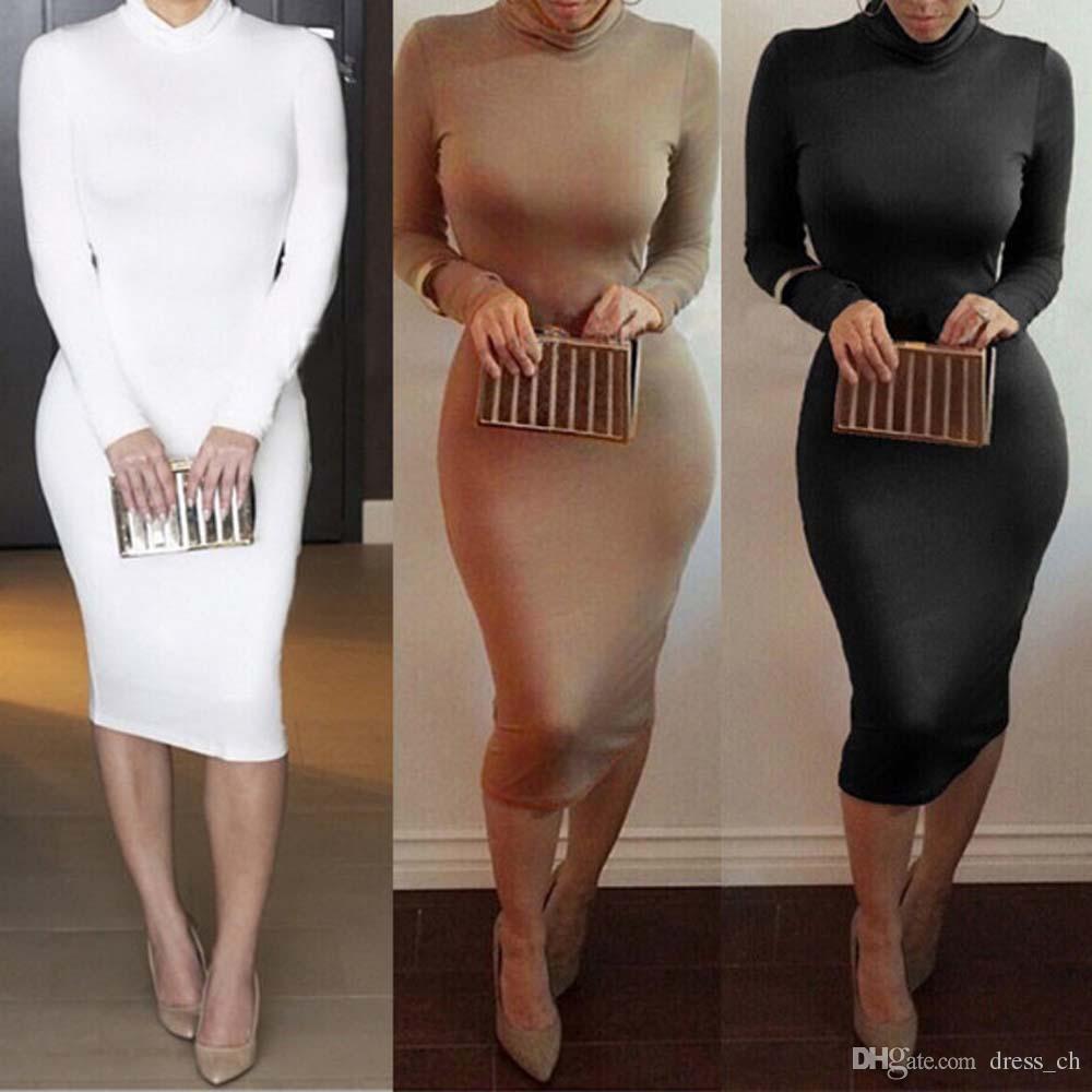 großhandel womens casual wasserfallausschnitt fashion herbst enges langes  kleid damen rollkragen langärmelige solid color herbst bodycon midi kleider