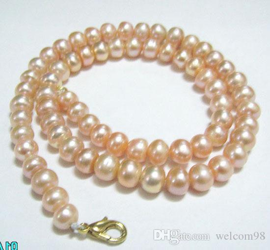 10 sztuk / partia Różowy Okrągły Słodkowodne Pearl Moda Zroszony Naszyjnik Pałek Wypisz do Biżuterii Prezent 16inch P9