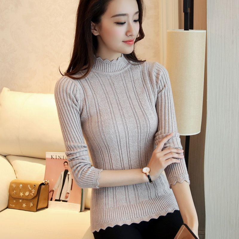 c3c6e5585 2019 Wholesale 2016 New Korean Style Turtleneck Solid Striped Women ...