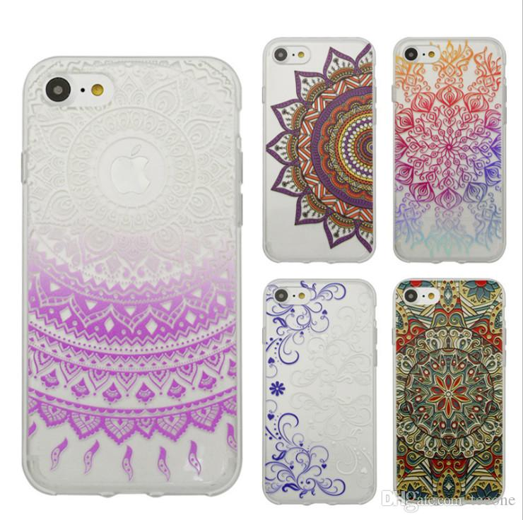 61f8324a9e2 Henna Flower Paisley Tribal Transparent Cover Phone Case For Iphone 7 7Plus  Shell Soft Shell Phone Sets TPU Creative Arts Inclusive Cases Waterproof  Cell ...
