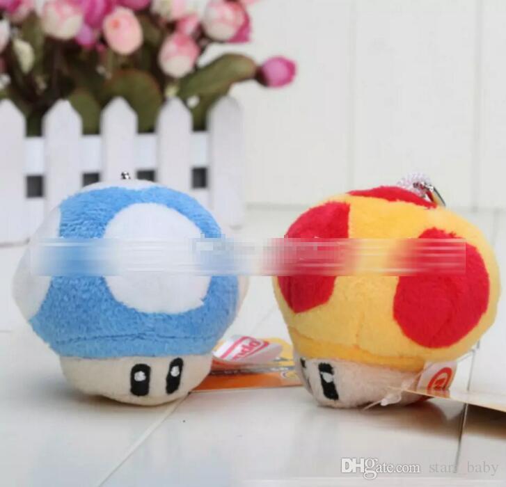"Mario mushroom Plush toys Pendant 7cm 3"" Mario Bros Stuffed Animals Mixed With Key Chain"