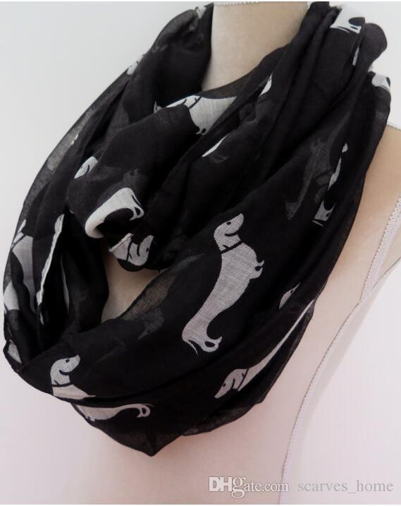 Factory Direct Sale Animal Print Voile Cotton Infinity Scarf all Kinds of Puppy Dog Print Circle Scarf Fashion Scaves Women around Scarfs
