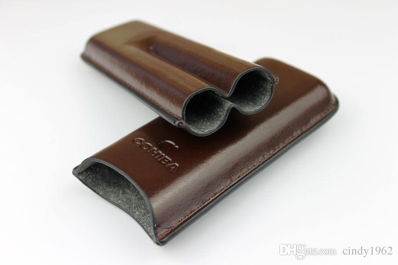 COHIBA Cor Marrom e Suporte de Couro de Cor Preta 2 Tubo de Viagem Caso Charuto Humidor Para fumar