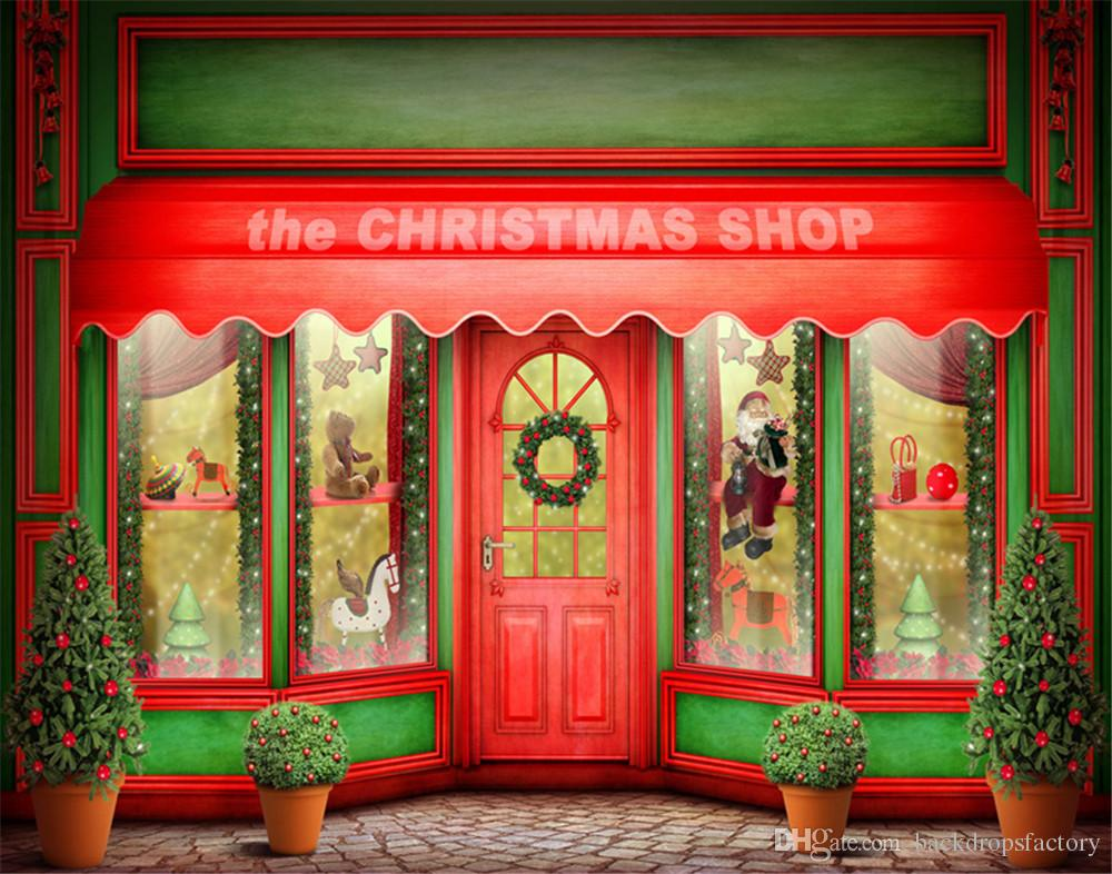 2018 merry xmas photo backdrop christmas shop red door windows children kids gifts family holiday photo shoot backdrops from backdropsfactory - The Christmas Shop