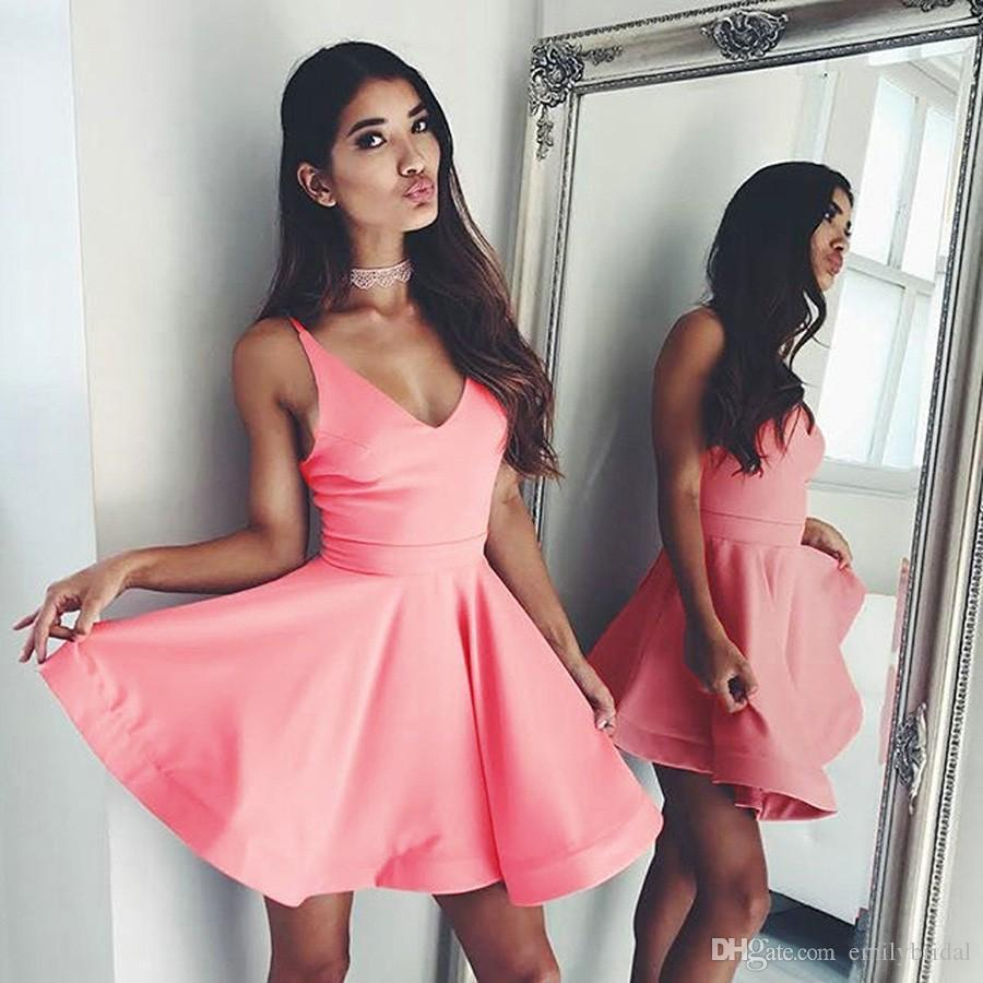 New Arrival Hot Pink Short Cocktail Party Dress Spaghetti Strap A ...