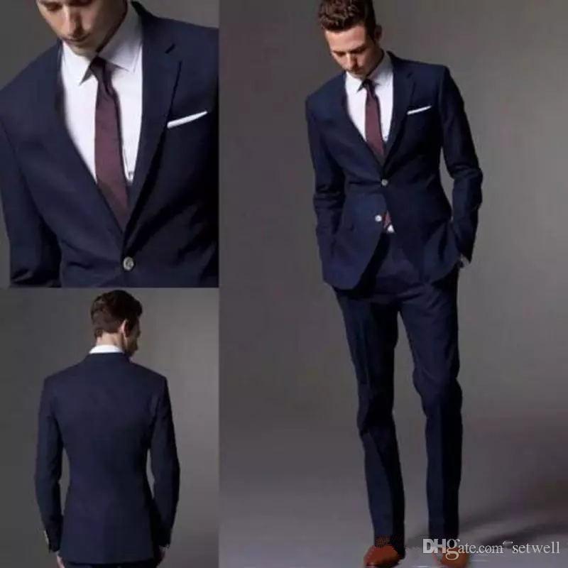 Setwell Azul marino oscuro juego de la manera de los hombres del novio juegos del juego de la boda para los hombres adelgazan el novio esmoquin Para mejor hombre por encargo chaqueta + pantalones