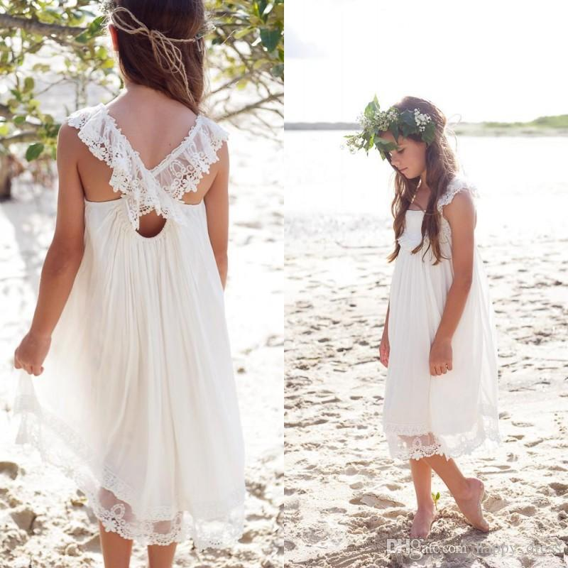 beach wedding flower girl dress new 2017 ivory chiffon tea length boho country 1585