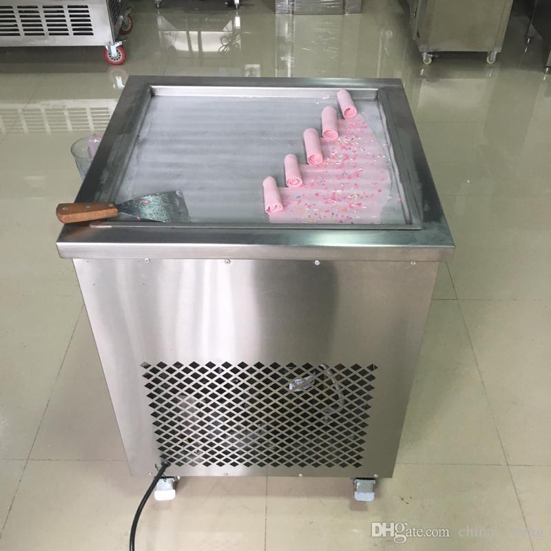 2018 Thai fritto gelato rotolo macchina singola 50 cm padella padella gelato rotolo di succo yoghourt maker 110 v / 220 v DHL