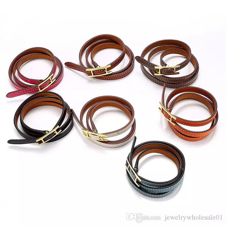 Jewelry wholesale H belt buckle, three layer leather bracelet, Kell bracelet, H letter leather, men and women Bracelet