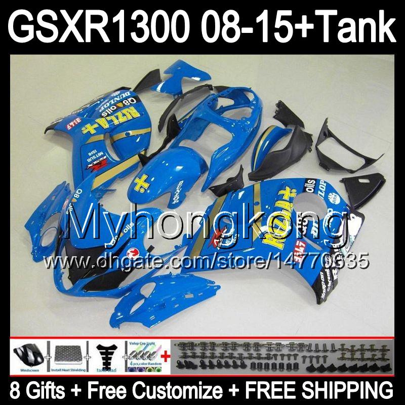 8gifts For SUZUKI Hayabusa GSXR1300 2008 2009 2010 2011 14MY67 RIZLA blue GSXR-1300 GSX R1300 GSXR 1300 2012 2013 2014 2015 TOP blue Fairing
