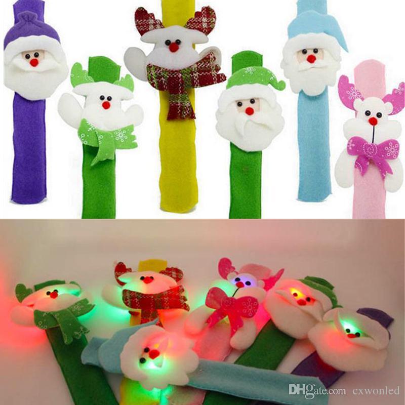 Decoración navideña Hallowmas Iluminado Led Clap Pulsera de lentejuelas Paño Arte Clap Circle Kid Brian Circle Niños Shine Ball Pulseras