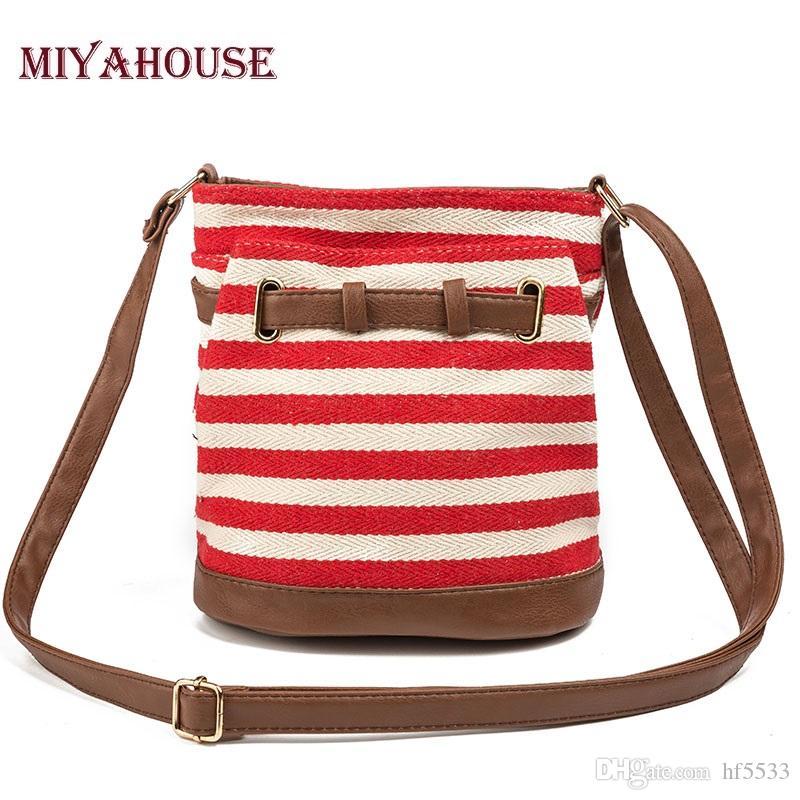 Pieces Striped Canvas Shoulder Bag Women red SYmey0Wb