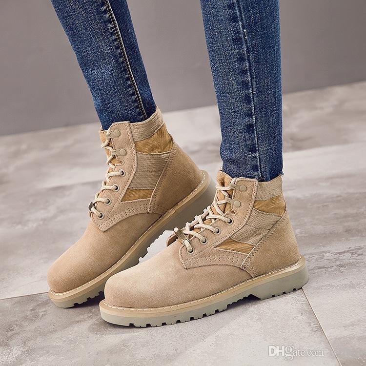 kadın öğrencilere Yüksek üst deri askeri ayakkabı kadın ayak bileği Motosiklet botları için Gerçek Deri Çöl çizme. Xdx-039