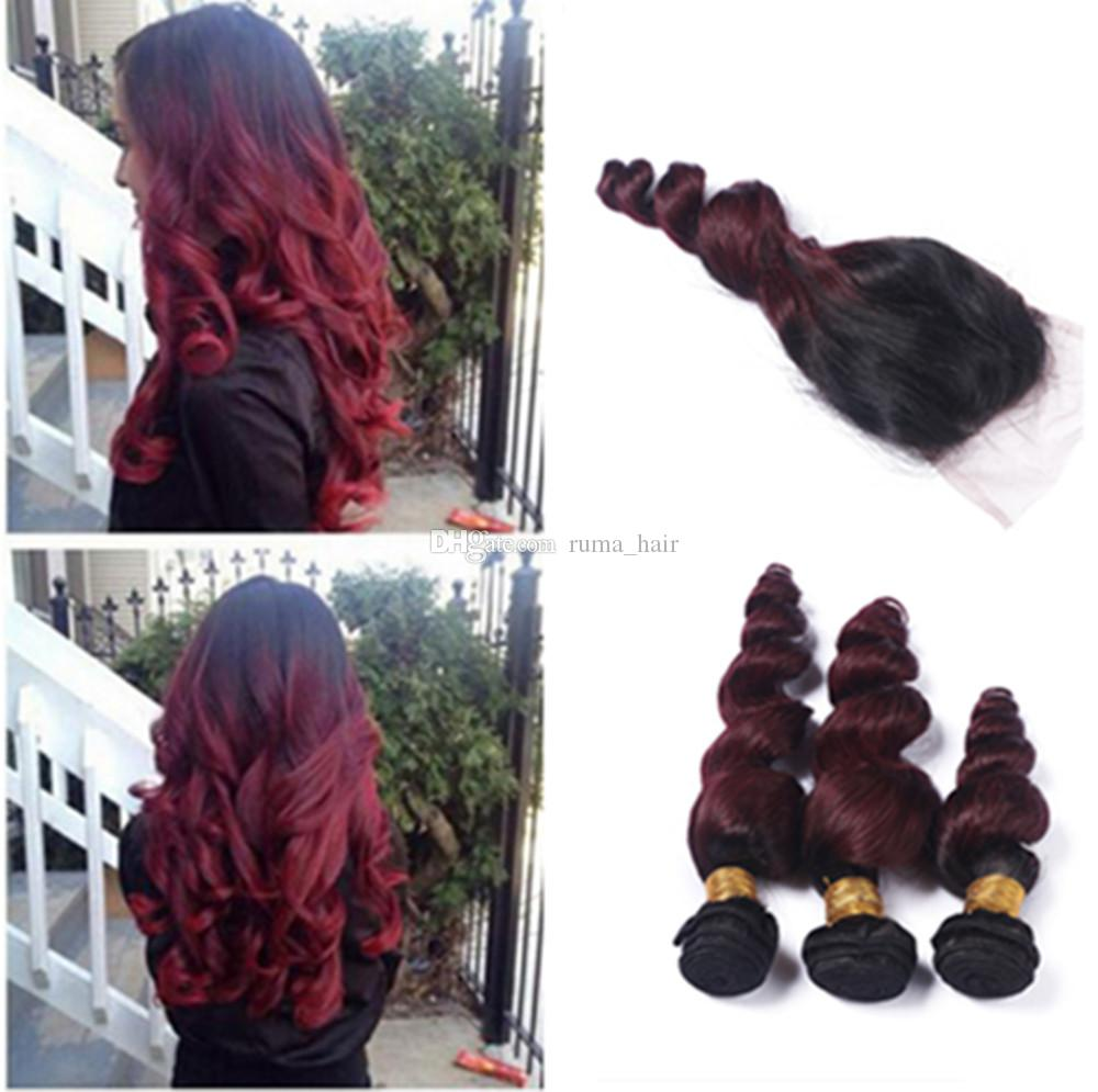 99j Peruvian Virgin Hair Ombre T1b 99j Dark Root Burgundy Human Hair Loose Wave Ombre Virgin Hair 3 Bundles With Curly Closure