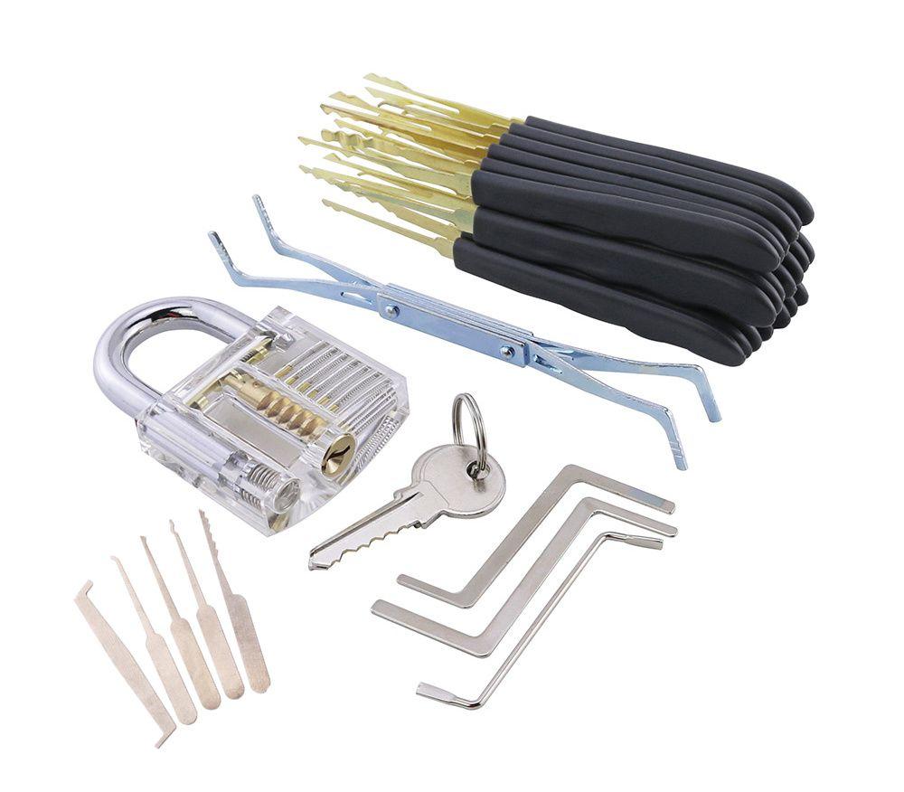 24 Stück GOSO Lockpicking-Werkzeug-Set LockSmith Praxis Dietriche-Werkzeug-Set mit Transparent Padlock Kreditkarten Dietriche Set