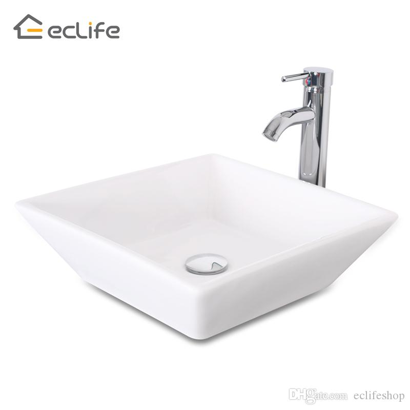 square bathroom sinks. 2018 1 5 Gpm Counter Top White Square Porcelain Ceramic Sink Bowl  Bathroom Vessel Combo With Chrome Solid Brass Faucet From Eclifeshop