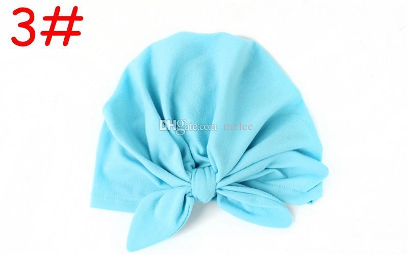 INS Bebek Yay Şapka Bunny Kulak Kapakları Avrupa Tarzı Türban Düğüm Baş Sarar Şapka 10 Renkler Bebek Hindistan Şapka Çocuklar Kış Bere