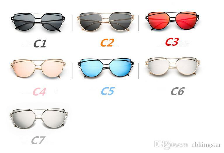 Fashion Women Cat Eye Sunglasses Flat Lens Mirror Brand Style Metal Frame Oversized Reflective Sun Glasses