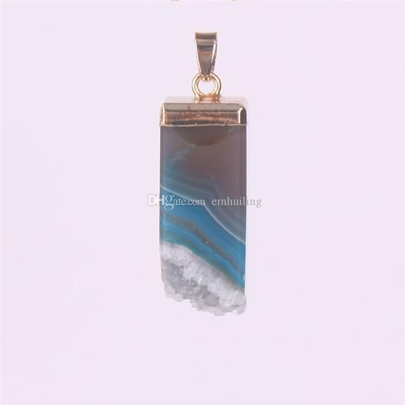 Square Amethyst Druzy Pendant Blue Drusy Drusie Druzie Pink Geode Gold Plated Quadrangular Natural Stone Rock Quartz Pendant Gemstone Nugget