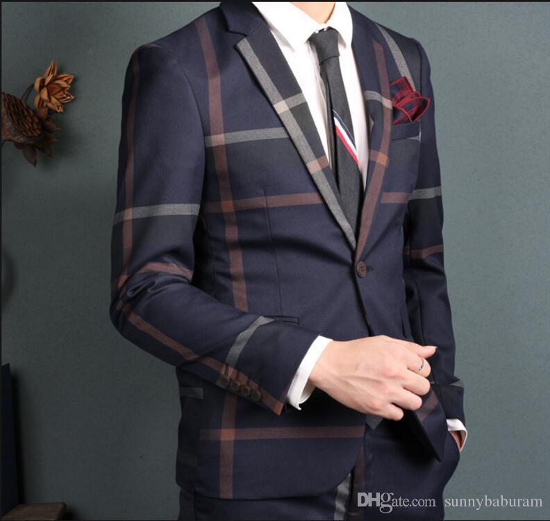 Marineblauer Anzug Zweiteiliger Anzug Karierte Textur Hochwertiger Stoff Hochzeitsanzüge Anzüge für Männer Volle Klage Prom Tuxedos Wholesale 005