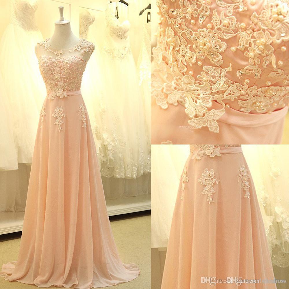 2017 New Elegant Tulle Lace Applique Beaded Peach Chiffon Long Bridesmaid Dresses Sleeveless Floor Length Party Evening Dresses Custom Made