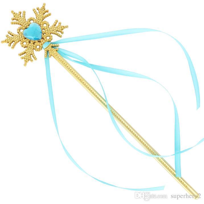 Fairy Gold snowflake ribbons wand streamers XMAS wedding party Cos Princess gem sticks magic wands confetti kids birthday favors