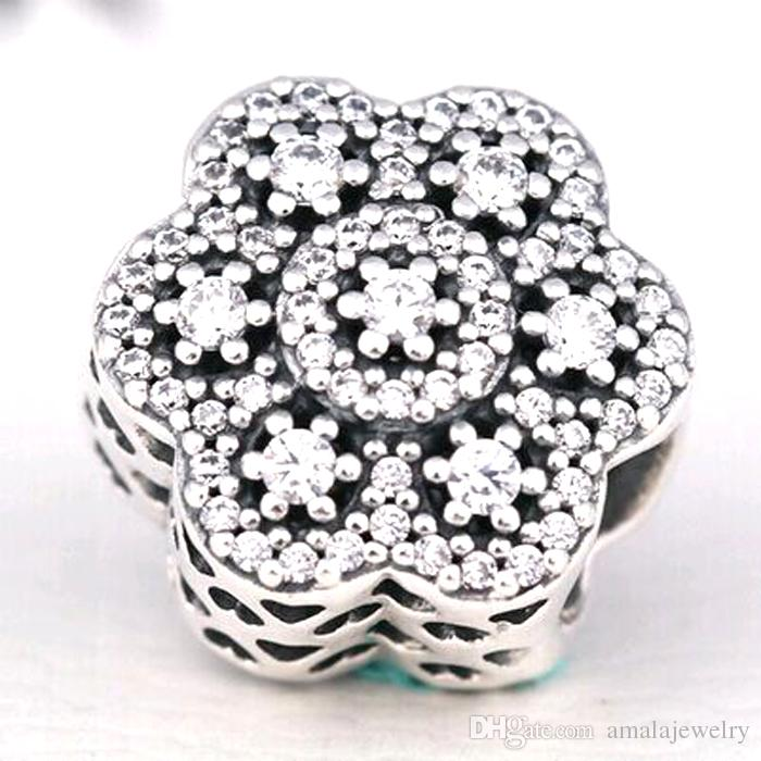 2016 Winter Loose Bead 925 Sterling Silver Crystallised Flor Charm Fits European Pandora Jewelry Bracelet Necklace & Pendant Christmas Gifts