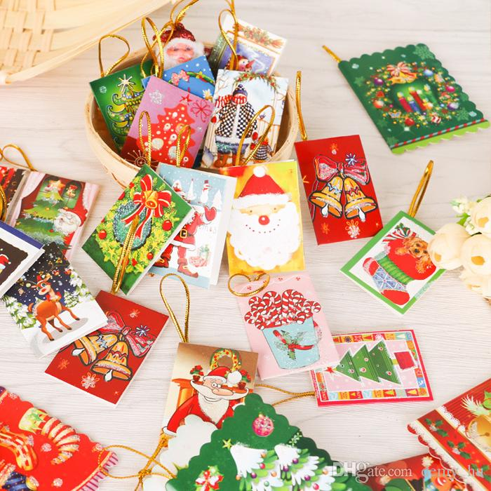2 Sizes Christmas Cards Printed Xmas Ornaments Wishing Card Sweet ...