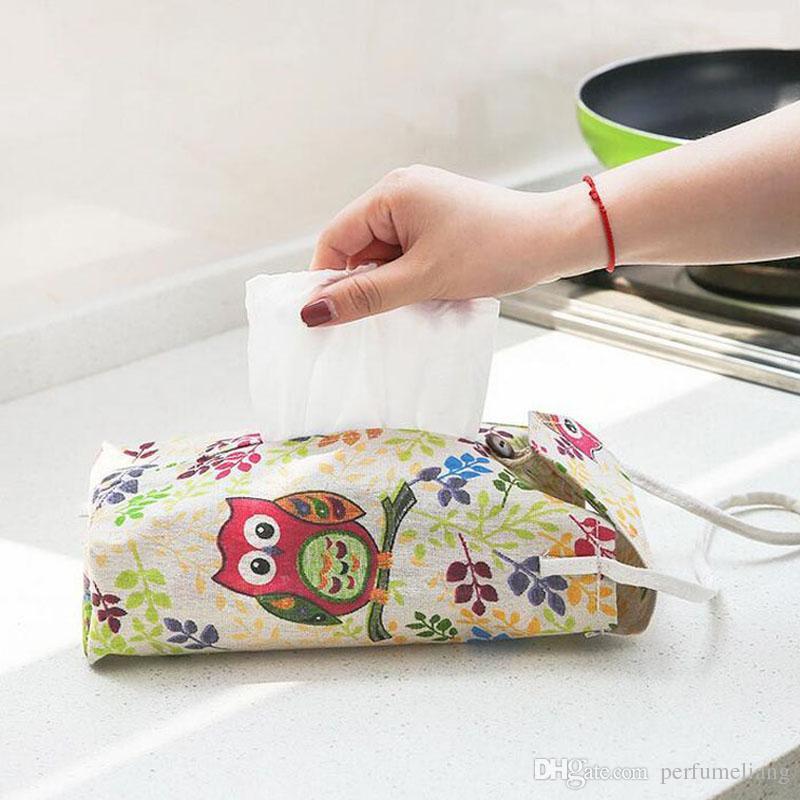 Creativo tipo di parete appeso scatola del tessuto la decorazione domestica bagno portatovaglioli di carta supporto di stoccaggio auto sacchetto di lino ZA4142