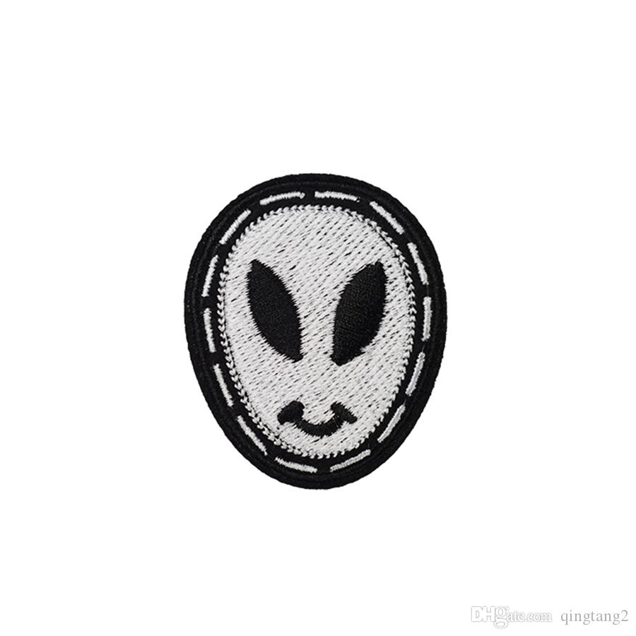 long face skull embroidery patches for clothing iron patch for clothes applique sewing accessories stickers on clothes iron on patches