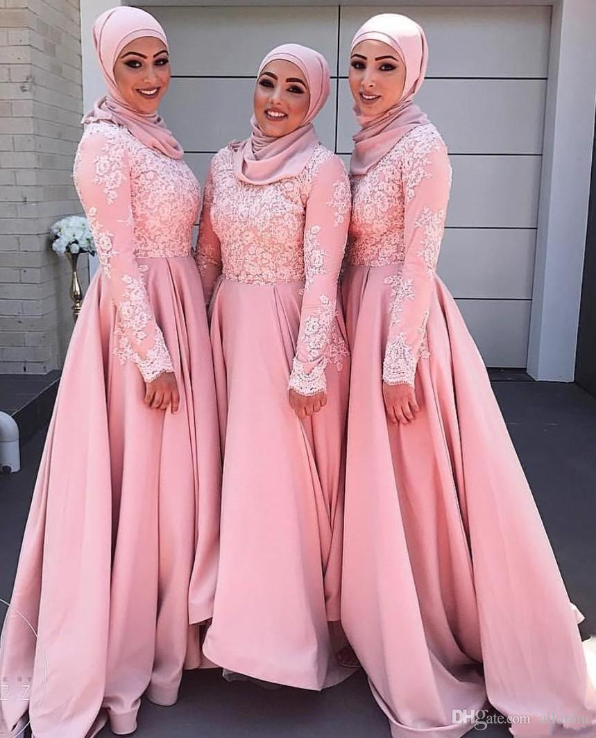 Arabo Dubai 2017 Nuovo design musulmano rosa abiti da damigella d'onore Applique di pizzo maniche lunghe Maid of Honor Dress abiti da damigella d'onore la cerimonia nuziale