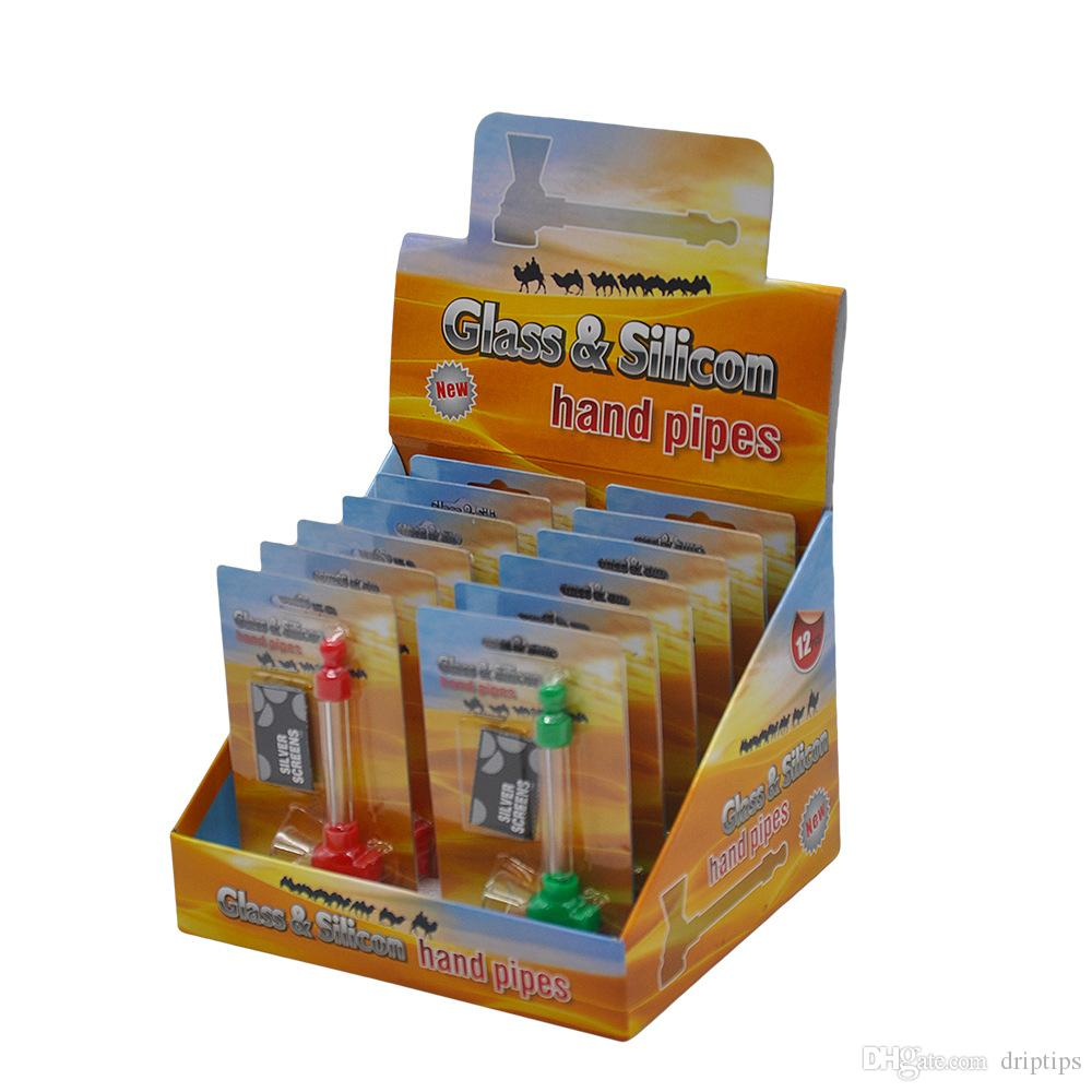 4 Farbe Silikon Skull Glaspfeife mit Screens Mini Rauchen Hand Pfeifen Tabak Zigarette Wasserpfeife Einzelhandel Verpackung