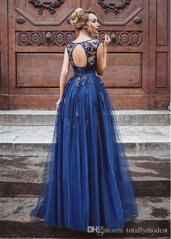 A-line Long Royal Blue Lace Tulle Prom Dresses Gowns Sleeveless Sexy Open Back Floor Length Corset Back Women Formal Evening Party Gowns