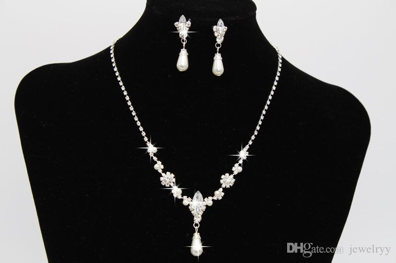Crystal Waterdrop Pearl Earring & Necklace Set Bridal Bridesmaid Wedding Jewelry Set Women Girls Prom Party Jewellery Accessories