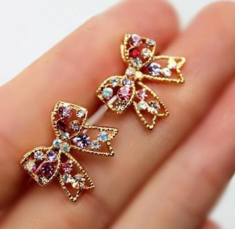 Super low selling! Bow Colorful Crystal Stud Earrings Wedding Party Gift Diamond Stud Earrings Girl/Madam Earrings