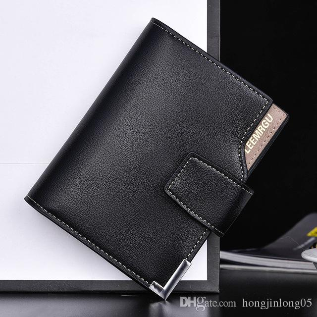 새로운 품질 부드러운 PU 가죽 남성용 지갑 비즈니스 캐쥬얼 3 접는 수직 Hasp 신용 카드 소지자 지갑 지갑 무료 배송