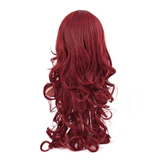 WoodFestival ladies long wavy wig burgundy synthetic hair wigs women heat resistant fiber wigs cosplay lolita oblique bangs