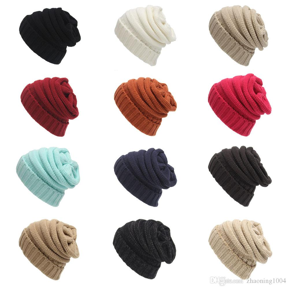 Soild Colors Knitted Hats Trendy Beanie Warm Oversized Chunky Skull Caps Soft Cable Knit Slouchy Crochet Hats Fashion Winter Classic Hats