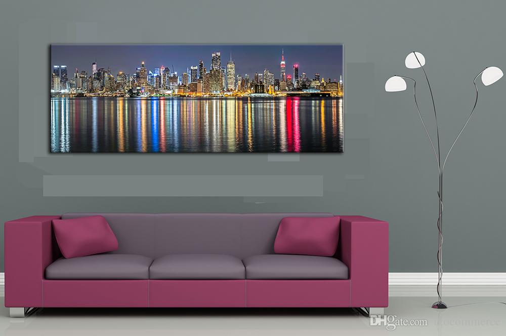 Unframe New York City Canvas Painting Panoramic Home Decor Canvas Wall Art Picture Landscape Digital Art Print for Living Room