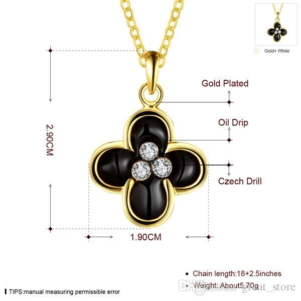 Good A++ flower 18k gold jewelry necklace fit women GGN902,Yellow Gold White gemstone Pendant Necklaces with chains