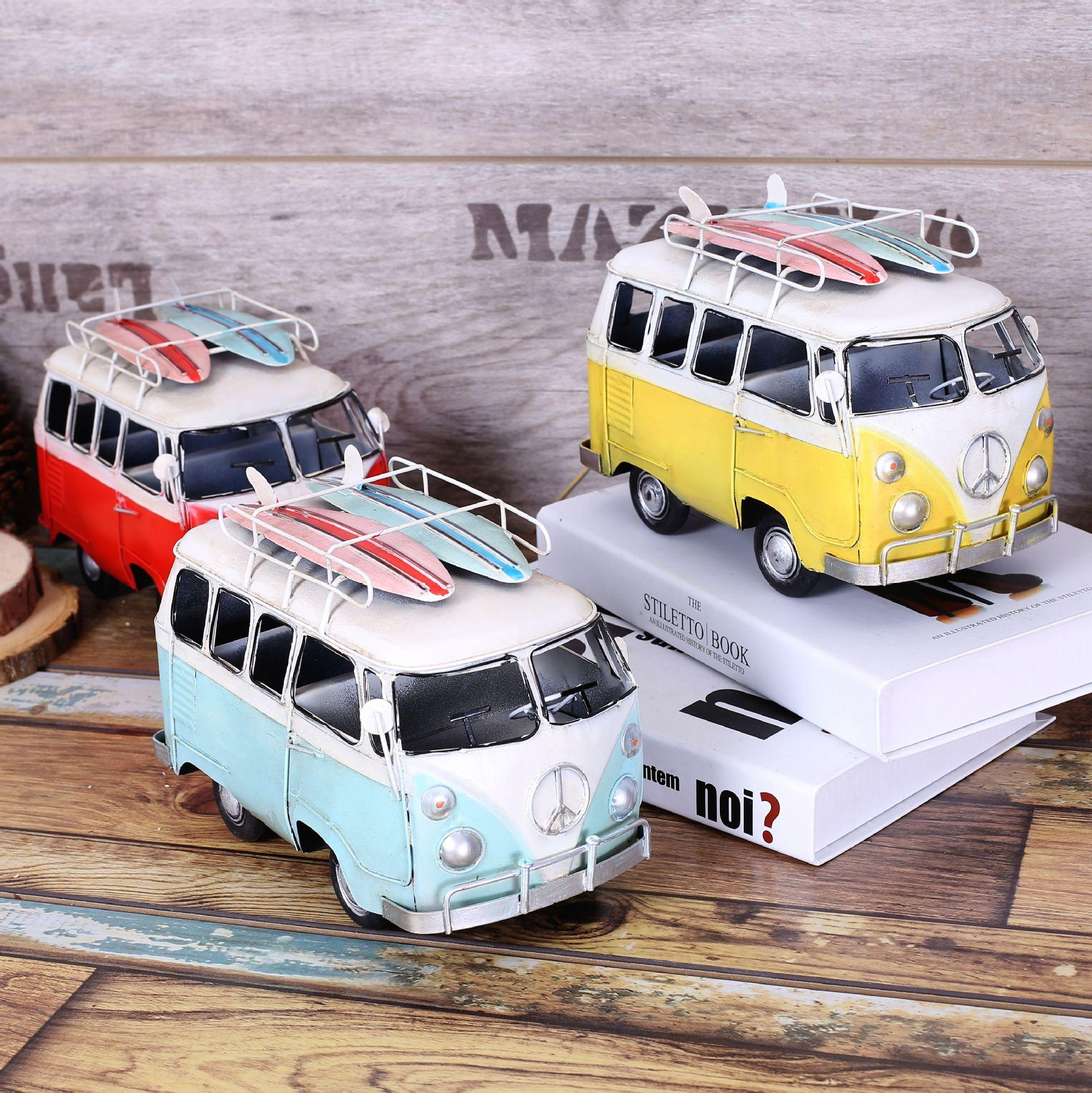 2017 shabby chic bus zakka vintage home decor metal crafts car