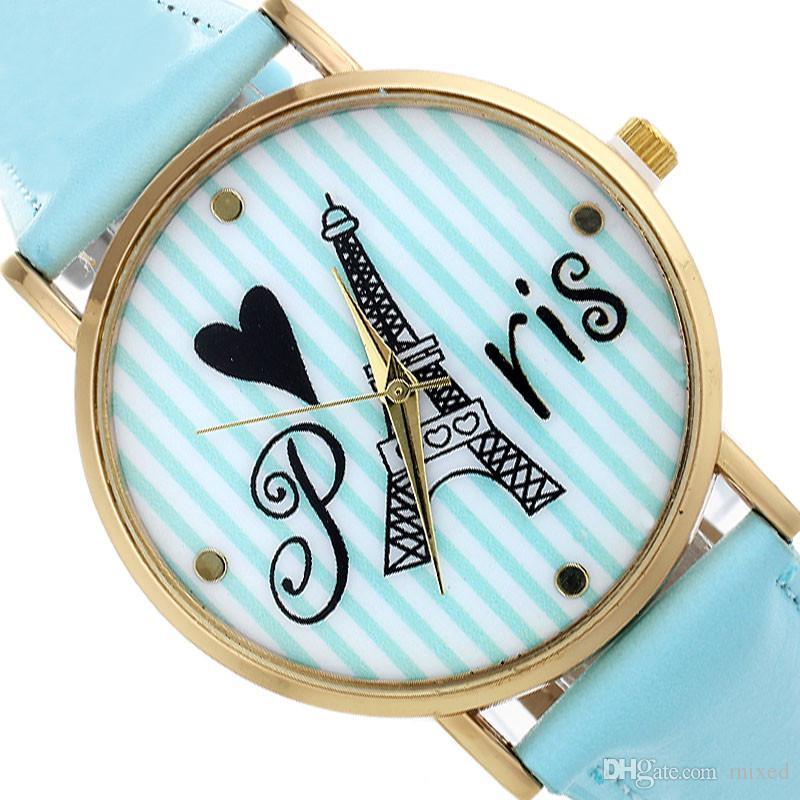 Мужчины Женщины Часы Лучший Бренд Класса Люкс Ретро Башня Полоса Pattern Мода Кожа Кварцевые Наручные Часы relogio подарок
