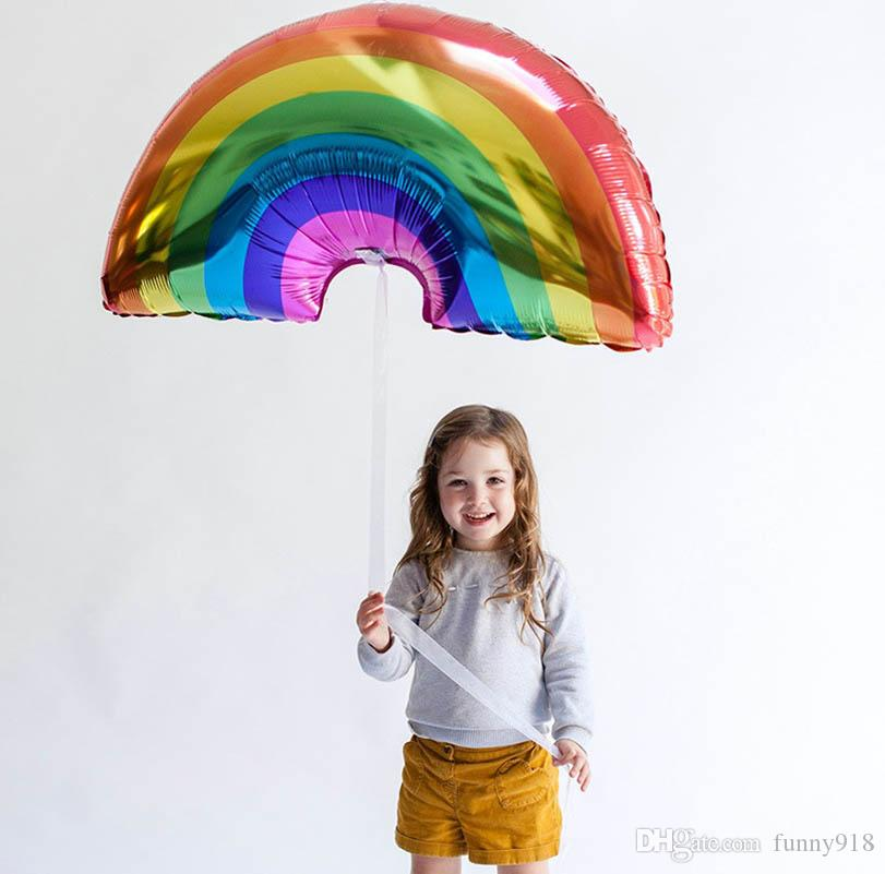 Big Size rainbow balloons 90*58CM FOIL baloes hot rainbow helium balls birthday holiday decorations wedding globos