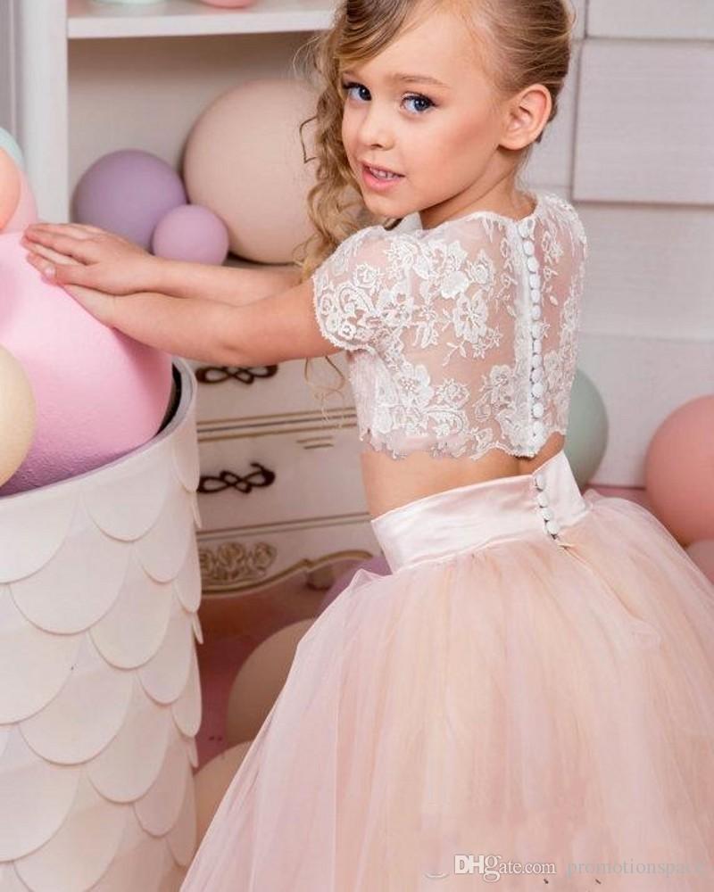 Vintage Coral Blumenmädchen Kleider für Hochzeiten 2017 Puffy Tüll Spitze Top Zwei Stücke Baby Party Kleid Pageant Kleider