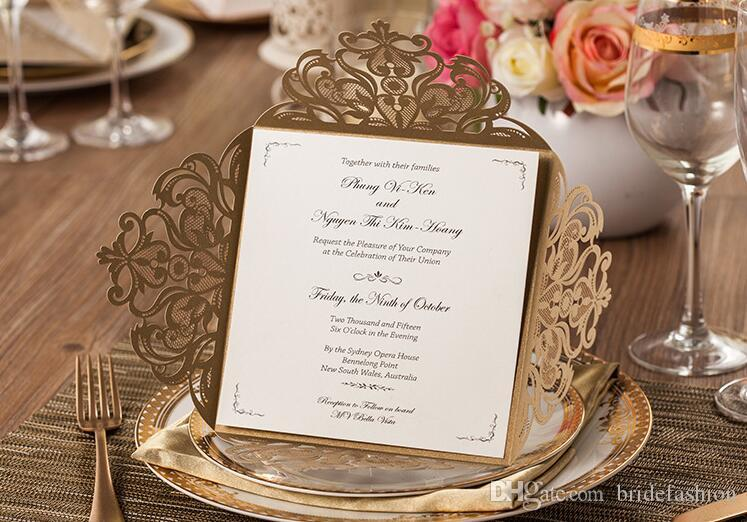 2017 wedding invitations gold paper blank inner sheet laser cutting wedding invitation flowers hollow wedding cards order wedding invitations pakistani - Pakistani Wedding Invitations