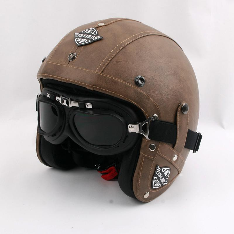 Wholesale- Vintage motorcycle helmet Retro PU leather open face helmet Brand KCO scooter helmet Men/women's Moto casco with free goggles