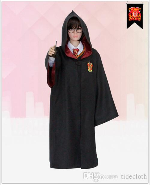 High Quality Harry Potter Robe Gryffindor Cosplay Costume Kids Adult Harry potter Robe cloak 4 styles Halloween Gift Only Robe Without Tie