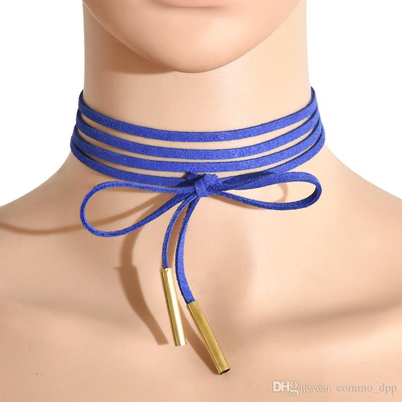 11 renkler Minimalist kadife Katmanlı Chokers uzun Papyon boyun kadın bayanlar Moda Takı aksesuarları Için ayarlanabilir kolye tops