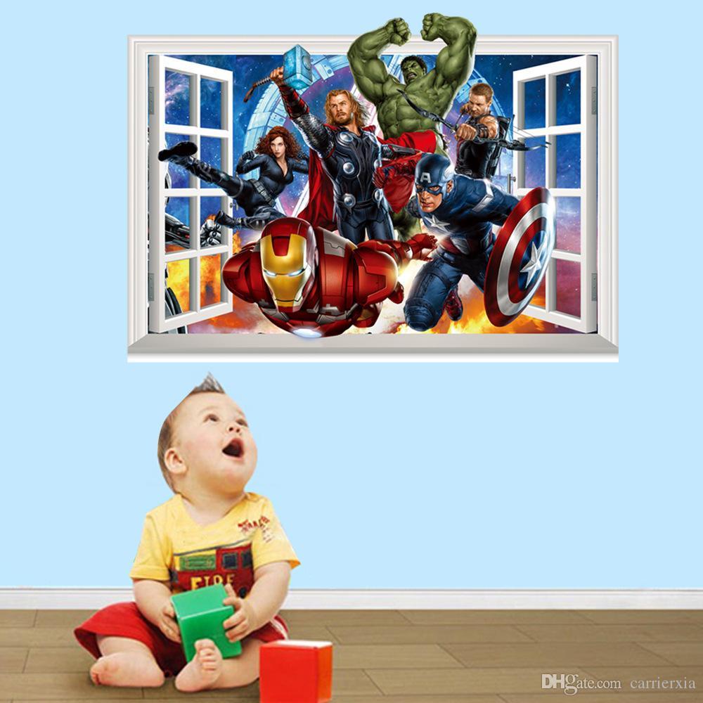 3D Vingadores Janela Estilo Adesivo De Parede para Crianças PVC Colorido Mural Art Decalque Da Parede Para Crianças e Decoração Do Berçário